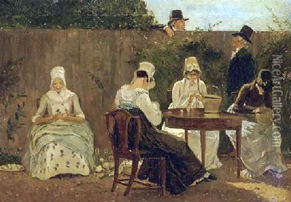 The Chalon Family In London Oil Painting - Jacques Laurent Agasse