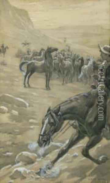 Cowboys Herding Mustangs,  Some Acid Staining Oil Painting - Elmer Boyd Smith