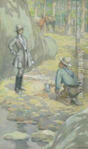 Cowboy And Lady Rider At Campsite Oil Painting - Elmer Boyd Smith
