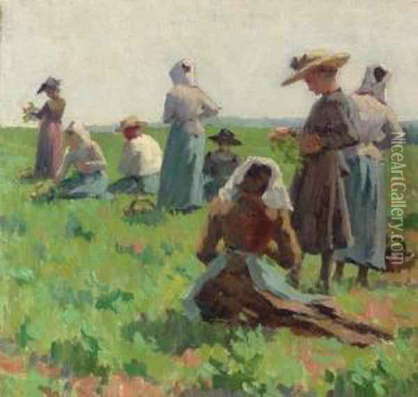 Working In The Fields, Brittany Oil Painting - Elmer Boyd Smith