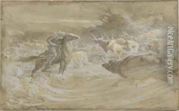 A Herd Of Cattle And Acowboy In A Sandstorm Oil Painting - Elmer Boyd Smith