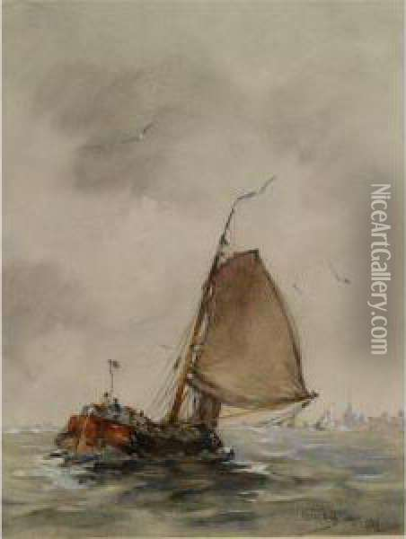A Barge In Choppy Waters On The Zuiderzee Oil Painting - Hobbe Smith