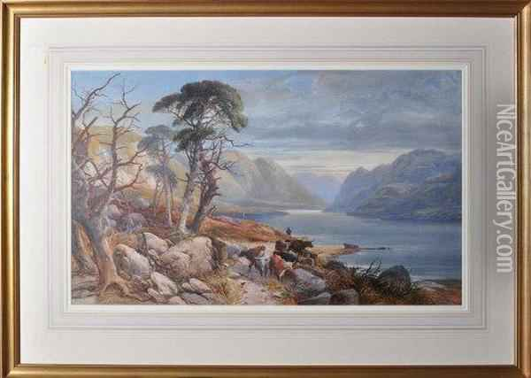 A Cattle Drover On A Lakeside Road Oil Painting - James Burrell-Smith