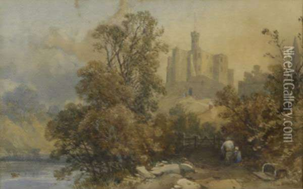 European Landscape With Castle Oil Painting - James Burrell-Smith