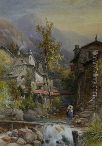 The Old Mill, Ambleside Oil Painting - James Burrell-Smith