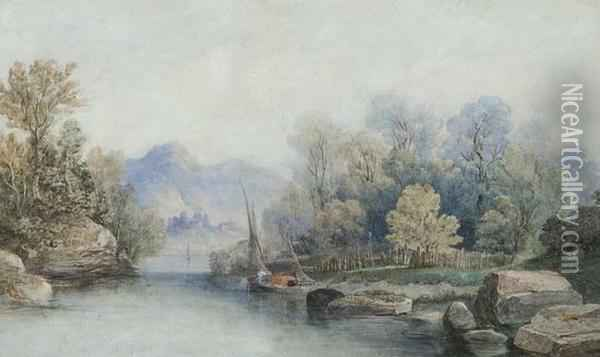 River View With Distant Town Oil Painting - James Burrell-Smith
