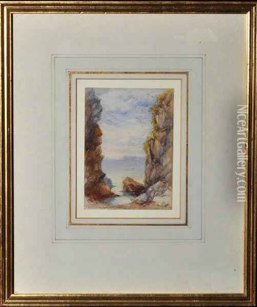 A Rock Pool Oil Painting - James Burrell-Smith