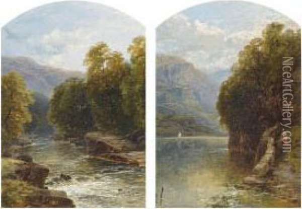 Figures On A Path By A Lake; And A Wooded Stream Oil Painting - John Brandon Smith