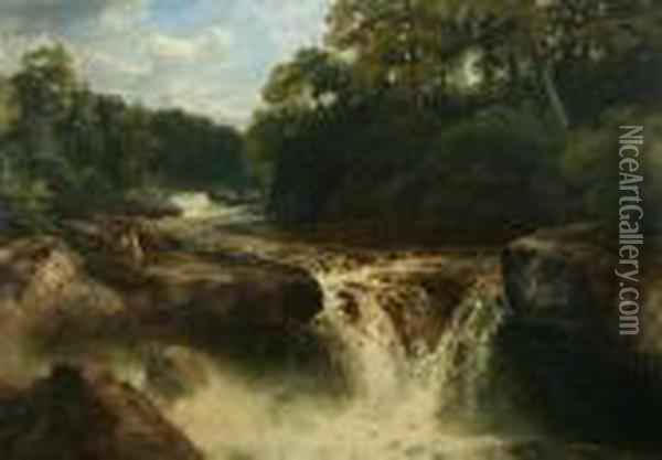 Falls On The River, Conway, North Wales Oil Painting - John Brandon Smith