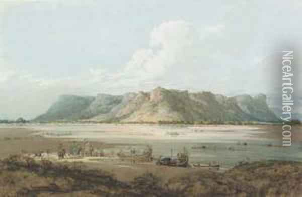 Crossing The River Son With The Hill Fort At Rhotasgarh, Shahabaddistrict Oil Painting - Robert, Colonel Smith