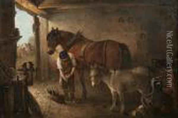 A Farrier Shoeing A Plough Horse, With A Donkey, In A Forge Interior Oil Painting - Edward Robert Smythe