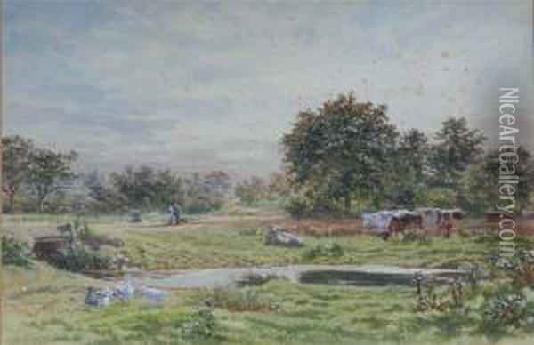 Pastoral View With Grazing Cattle Oil Painting - Martin Snape