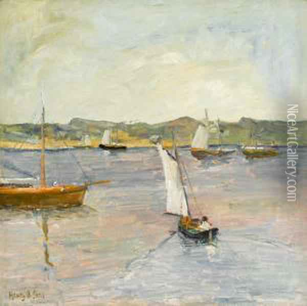 Sailing Boats Off Coast Oil Painting - Henry Bayley Snell