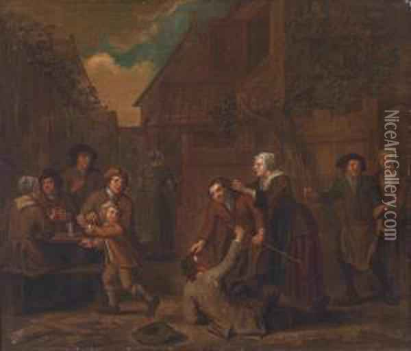 Brawl In A Tavern Oil Painting - Pieter Snyers