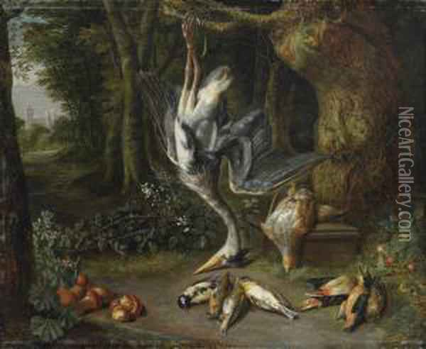 A Heron, A Quail, A Tit, A Robin, A Goldfinch, A Woodpecker, Akingfisher, A Sparrow And Another Bird In A Forest Landscape, Acastle Beyond Oil Painting - Pieter Snyers