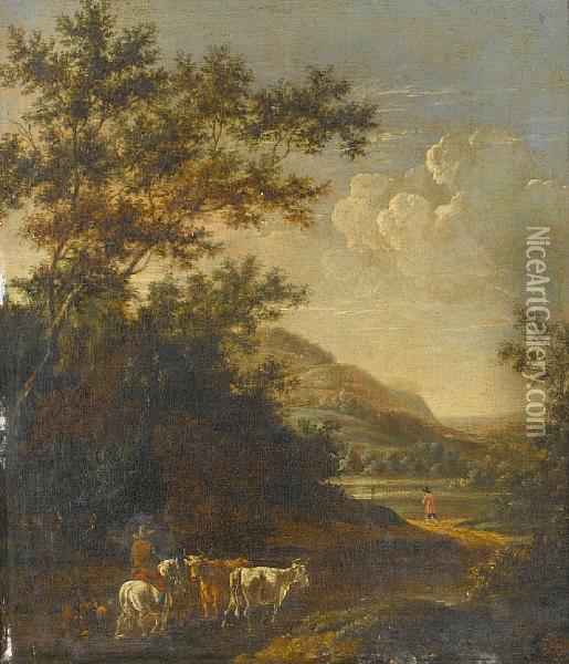An Italianate Landscape With Cattle On Atrack Oil Painting - Jan Gabrielsz. Sonje