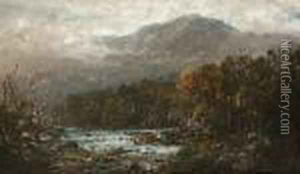 On The Androscoggin Oil Painting - William Louis Sonntag
