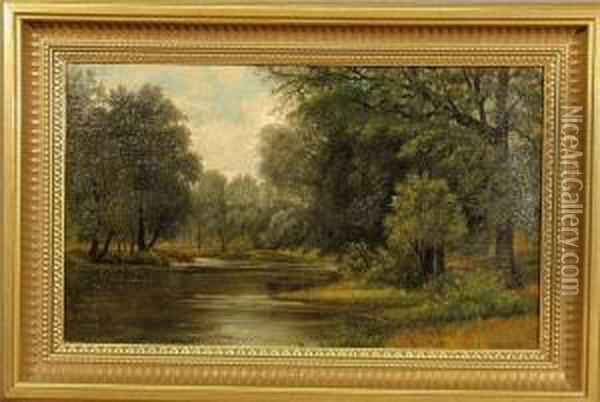 Summer Landscape Painting With Tree Lined Stream Oil Painting - William Louis Sonntag