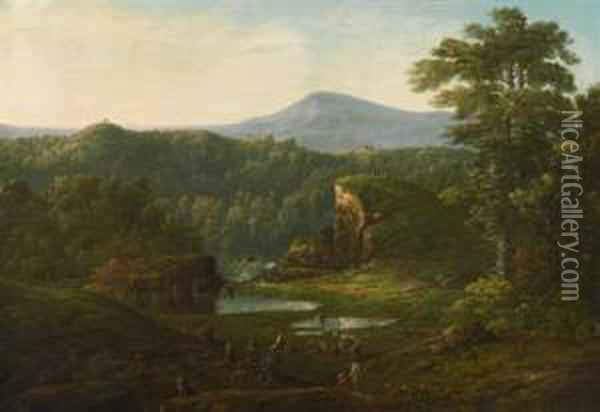 Extensive Landscape With Figures In The Foreground Oil Painting - William Louis Sonntag