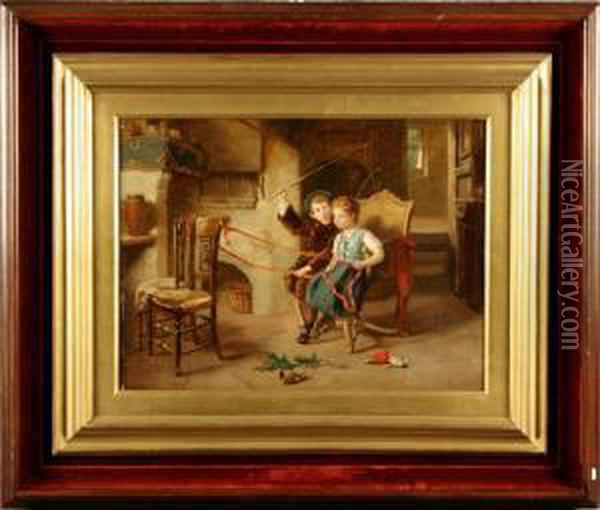 ''bambini Che Giocano'' Oil Painting - Paul Constant Soyer