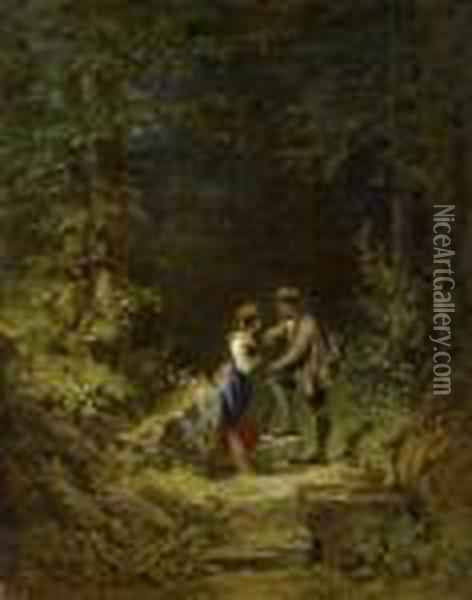 Encounter In The Forest Oil Painting - Carl Spitzweg