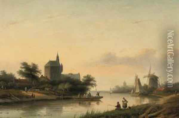 A Summer Landscape With A Ferry Crossing A Waterway Oil Painting - Jan Jacob Coenraad Spohler
