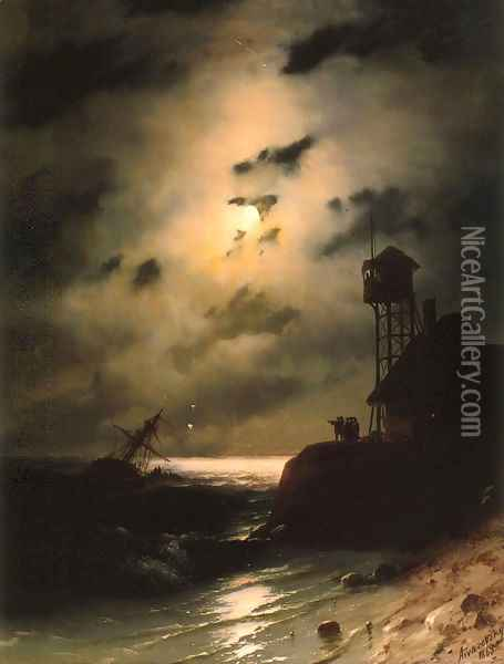 Moonlit Seascape With Shipwreck Oil Painting - Ivan Konstantinovich Aivazovsky