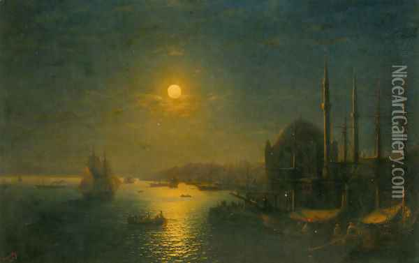 A Moonlit View of the Bosphorus Oil Painting - Ivan Konstantinovich Aivazovsky