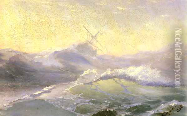 Bracing the Waves Oil Painting - Ivan Konstantinovich Aivazovsky