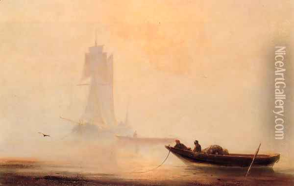 Fishing Boats In A Harbor Oil Painting - Ivan Konstantinovich Aivazovsky
