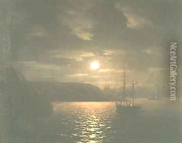 A Lunar night on the Black sea Oil Painting - Ivan Konstantinovich Aivazovsky