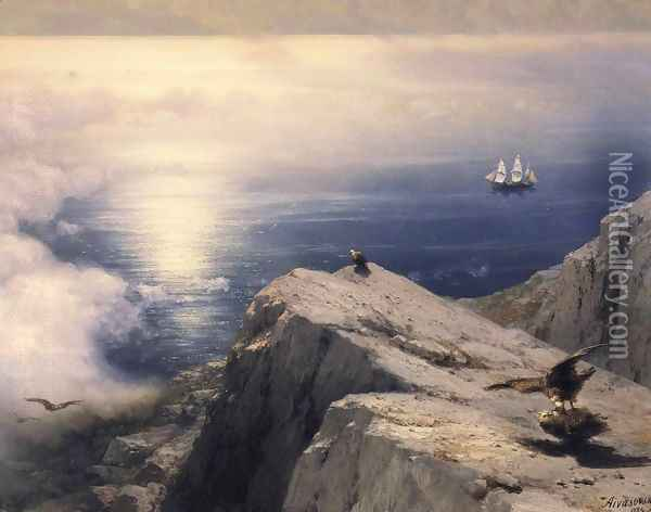 A Rocky Coastal Landscape in the Aegean with Ships in the Distance (detail) Oil Painting - Ivan Konstantinovich Aivazovsky