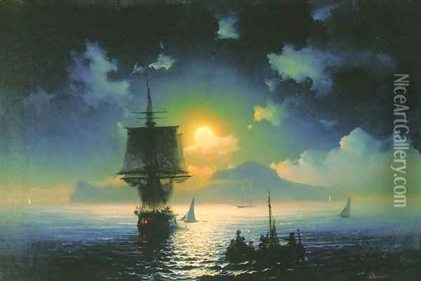 A Lunar night on Capri Oil Painting - Ivan Konstantinovich Aivazovsky