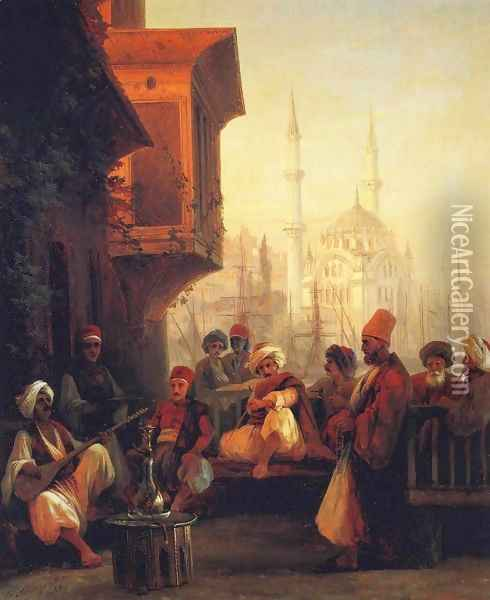Coffee house by the Ortakoy Mosque in Constantinople Oil Painting - Ivan Konstantinovich Aivazovsky