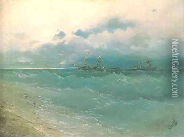 The ships on rough sea sunrise Oil Painting - Ivan Konstantinovich Aivazovsky