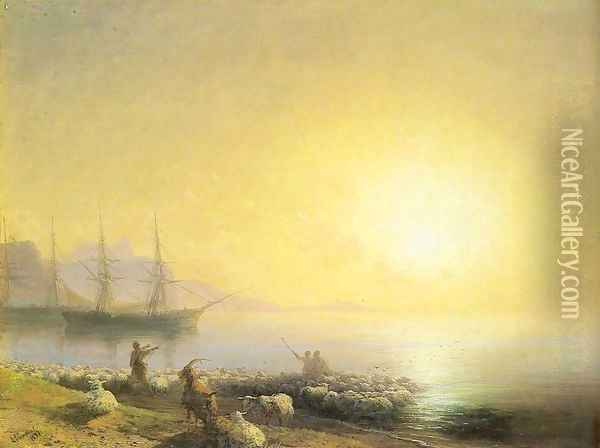 Bathing of a sheeps Oil Painting - Ivan Konstantinovich Aivazovsky
