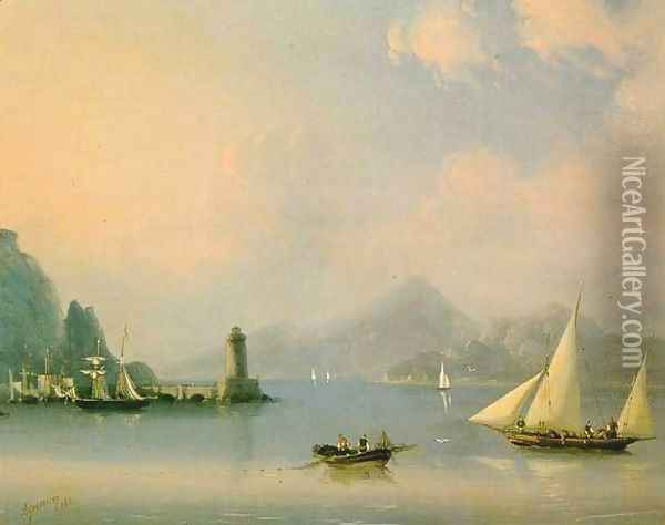 Sea channel with lighthouse Oil Painting - Ivan Konstantinovich Aivazovsky