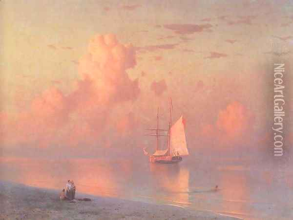 The sunset Oil Painting - Ivan Konstantinovich Aivazovsky