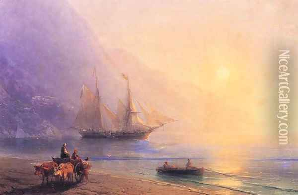 Loading Provisions off the Crimean Coast Oil Painting - Ivan Konstantinovich Aivazovsky
