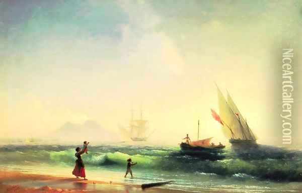 Meeting of a fishermen on coast of the bay of Naples Oil Painting - Ivan Konstantinovich Aivazovsky