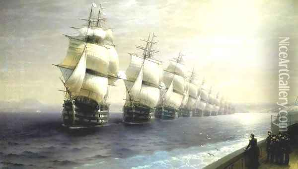 Parade of the Black Sea Fleet in 1849 Oil Painting - Ivan Konstantinovich Aivazovsky