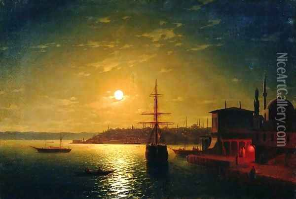 The Bay Golden Horn Turkey Oil Painting - Ivan Konstantinovich Aivazovsky