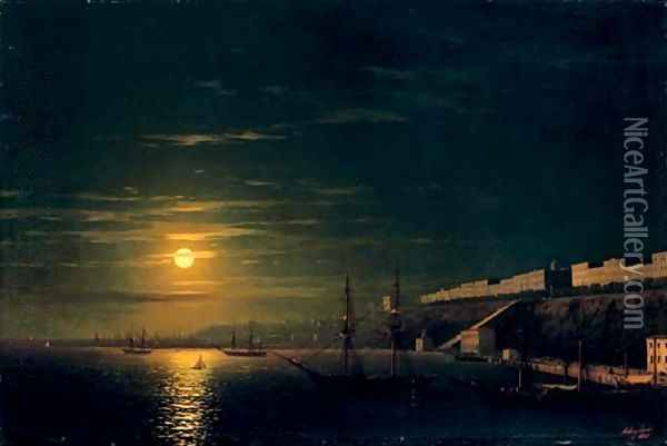 A moonlit view of Odessa from the Black Sea Oil Painting - Ivan Konstantinovich Aivazovsky