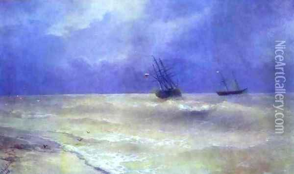 Breakers on the Crimean Coast Oil Painting - Ivan Konstantinovich Aivazovsky