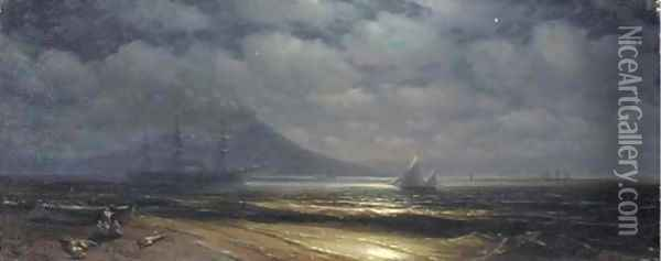 Moonlit view of the Bay of Naples Oil Painting - Ivan Konstantinovich Aivazovsky