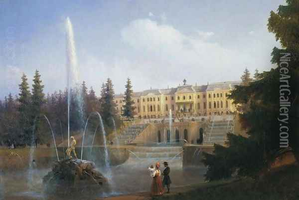 View of the Big Cascade in Petergof and the Great Palace of Petergof Oil Painting - Ivan Konstantinovich Aivazovsky