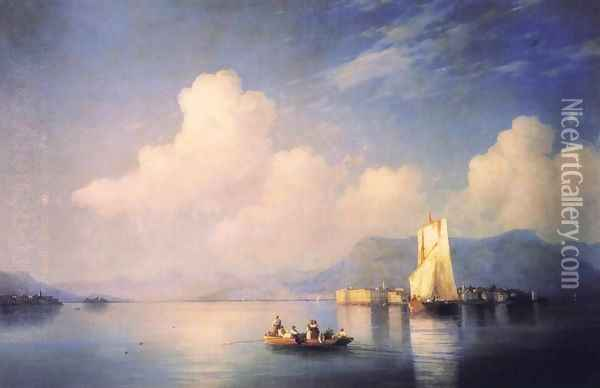 Lake Maggiore in the Evening Oil Painting - Ivan Konstantinovich Aivazovsky