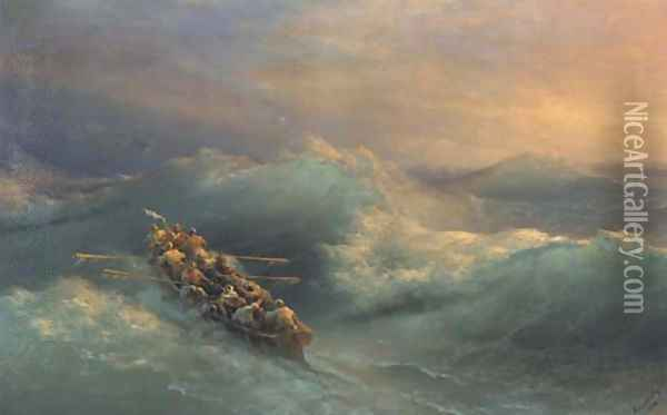 Lifeboat in heavy seas Oil Painting - Ivan Konstantinovich Aivazovsky