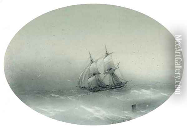 Sailing Ship in choppy Waters Oil Painting - Ivan Konstantinovich Aivazovsky