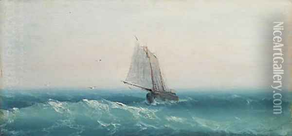 Ship in calm sea Oil Painting - Ivan Konstantinovich Aivazovsky